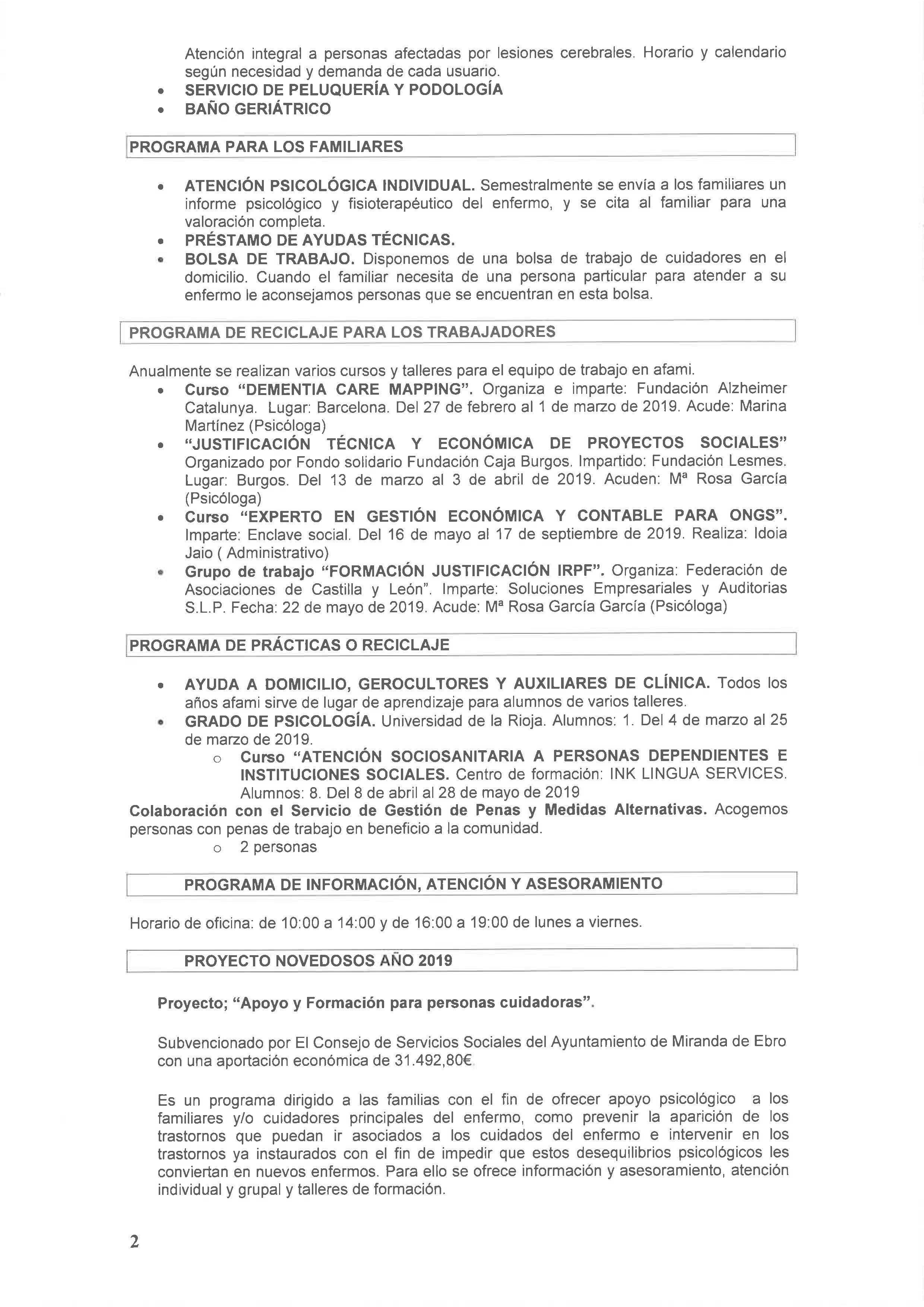 Propuesta de actividades 2019-2